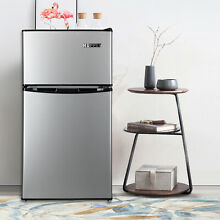 3 2 Cu Ft Stainless Steel 2 Door Mini Refrigerator Freezer Cooler Fridge Compact