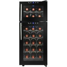 21 Bottles Dual Temperature Zone Freestanding Electric Black Wine Cooler Touch