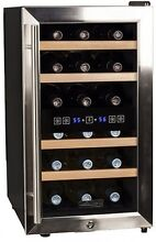Koldfront 18 Bottle Free Standing Dual Zone Wine Cooler   Black And Stainless