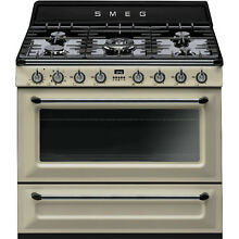 Smeg 36  Victoria Dual Fuel Stainless Steel Range 5 Burners   Convection Oven