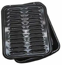 Porcelain Broiler Pan  Cooking Grill Bake Roasting BBQ Steel Rack Nonstick New