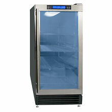Maxx Ice 14 5  Built In Undercounter Glass Door Beverage Center Cooler w  LED