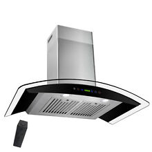 30  Stainless Steel Wall Mount Range Hood with Gas Sensor Remote Control Glass