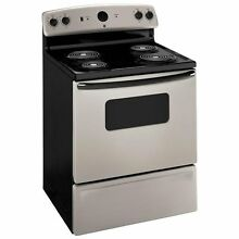 Brand New GE 30  FREE STANDING ELECTRIC RANGE Silver on Black