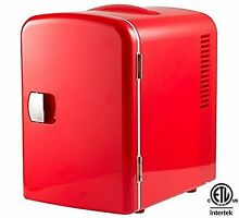 Gourmia GMF600R Portable 6 Can Mini Fridge Cooler and Warmer  Red   110V