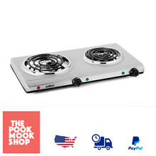 Stainless Steel Double Coil Portable  Cooking Range Electric Stove Campsite Cook