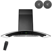 30  Wall Mount Range Hood Stainless Steel Black Curved Glass Ventless Ductless