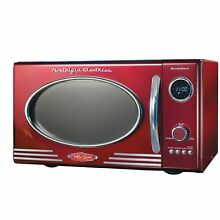 0 9 Cu Ft Electric Retro Series Kitchen Tabletop Microwave Oven   Chrome Red