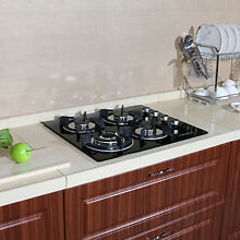 Black 24  3 3KW 4 Burners Stoves Gas Cooktop Glass Built in Kitchen Hob Cookware
