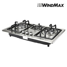 New 28  Stainless Steel Black Frame 3 Burner Built In Stove NG LPG Gas Cooktop