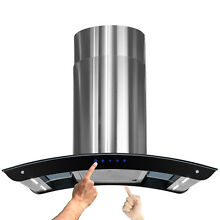 NEW 36  STAINLESS STEEL ISLAND MOUNT RANGE HOOD EXHAUST w  4 LED LIGHT STRIP