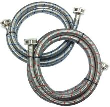 Everbilt 3 4 in  x 3 4 in  x 5 ft  Stainless Steel Washing Machine Hose  2 Pack
