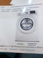 Samsung washer and dryer set  used once  white  pedestals