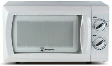 White Small Built In Microwave Oven Side Controls Curved Turntable Pull Door