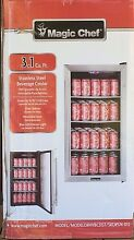 New NIB Magic Chef 3 1 Cubic Ft  90 12oz Can Stainless Steel Beverage Cooler