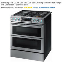 Samsung Smart Gas Range with 5 Year Protection Plan   Brand New