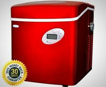 NewAir 50 Lb  Freestanding Ice Maker In Red Powerful Compressor Party Events
