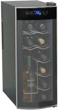 Wine Cooler 12 Bottle LED Control Slide Out Shelves Thermoelectric Cooling