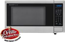 Sharp Carousel 1 1 cu  ft  Countertop Microwave in Stainless Steel with Orville