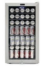 White Commercial Beverage Refrigerator Glass Door Compact Cylinder Lock  120 Can