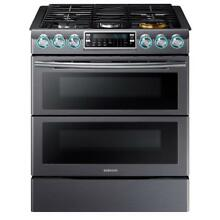 Samsung 5 8 cu  ft  Flex Duo Double Oven Gas Range Black Stainless PICK UP