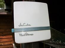 VINTAGE 1950 s REFRIGERATOR  ICE BOX PORCELAIN DOOR  WITH CHROME SCRIPT WALL ART