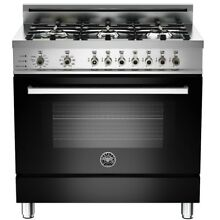 Bertazzoni Professional Series 36  Black Convection Dual Fuel Range PRO366DFSNE