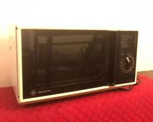 Vintage Compact General Electric GE Microwave Oven Small 80 s Black White Tested
