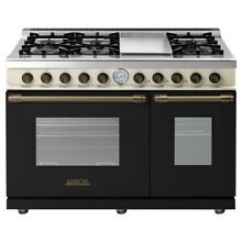 Superiore RD482GCNCB 48  Freestanding Gas Range Black and Cream
