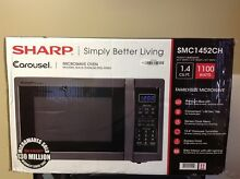 Sharp SMC1452CH  Carousel 1 4 Cu  Ft  Mid Size Microwave   Black stainless steel