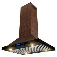 30  Island Mount Range Hood Embossed Copper 4 Speed Touch Control for Kitchen