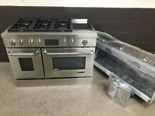 2 pc set  Jenn Air JDRP548WP 48  Dual Fuel Range 6 Burners Griddle   Vent Hood