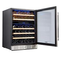 Kalamera 24 inch Wine Refrigerator 46 Bottle Dual Zone Built in or Freestanding