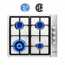 Gas Cooktop Built in Gas Stove Top Tier Stainless Steel LPG Natural Gas 24  New