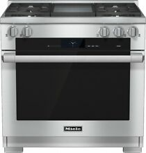 Miele M Touch Series HR1936DFGD 36  Pro Style Dual Fuel Range 4 Burners Griddle
