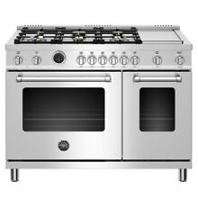 Bertazzoni MAST486GDFSXT 48  Freestanding Range with Electric Self Cleaning Oven