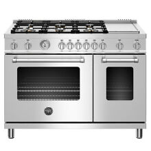 Bertazzoni MAST486GGASXT 48  Freestanding Range with 4 7 Cu  Ft  Main Gas Oven