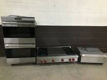 3 pc set  Wolf Range Top 48  SRT484DG Wolf 30  Double Oven DO302US Warming Drawr