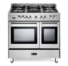 Verona VEFSGE365NDSS H 36  Dual Fuel Range w  Double Oven   Round Handle