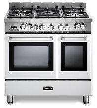 Verona VEFSGE365NDW 36  Pro Style Dual Fuel Gas Double Oven Range True White