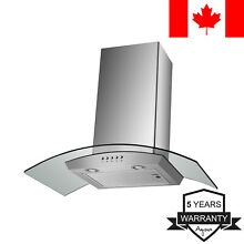 Agua Canada Range Hood Curved Glass Stainless Steel Wall Mount  30 Inch 500 CFM