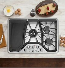 GE Cafe Series CGP350SETSS 30 Inch 5 Burner Gas Cooktop With Griddle