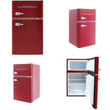 Retro 3 2 cu  ft  2 Door Mini Fridge in Red
