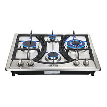 23  Curve Stainless Steel 4 Burner Gas Cooktop Cooker NG LPG Approved US Ship