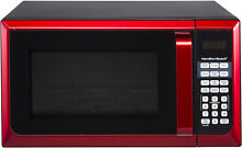Hamilton Beach 0 9 cu ft  Microwave Oven  Red Stainless Steel Compact NEW