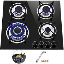 Tempered Glass 4 Burners Stove Gas Cooktop 24inch LPG   LNG Gas Built In Stove