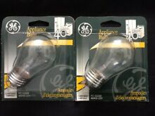 Lot 2 GE A15 40W BULBS REFRIGERATOR OVEN MICROWAVE Fridge Clear Light Bulb Two