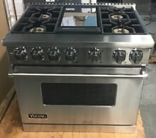 Viking Professional 7 Series VDR7364GSS 36  Pro Style Dual Fuel Range 4 Burners
