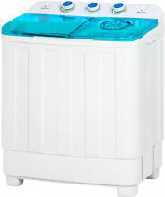 Portable Mini Washing Machine with Spin Dry Cycle Washer and Dryer White Blue