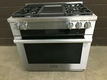 Miele 1936G   36  PRO Dual Fuel Range 4 Burners   Griddle Stainless Steel